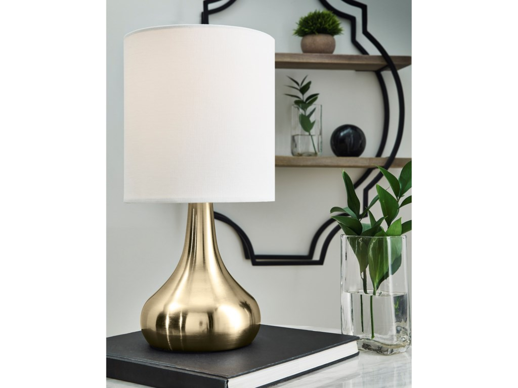 Signature Design by Ashley Lamps - ContemporaryCamdale Brass Finish Metal Table Lamp