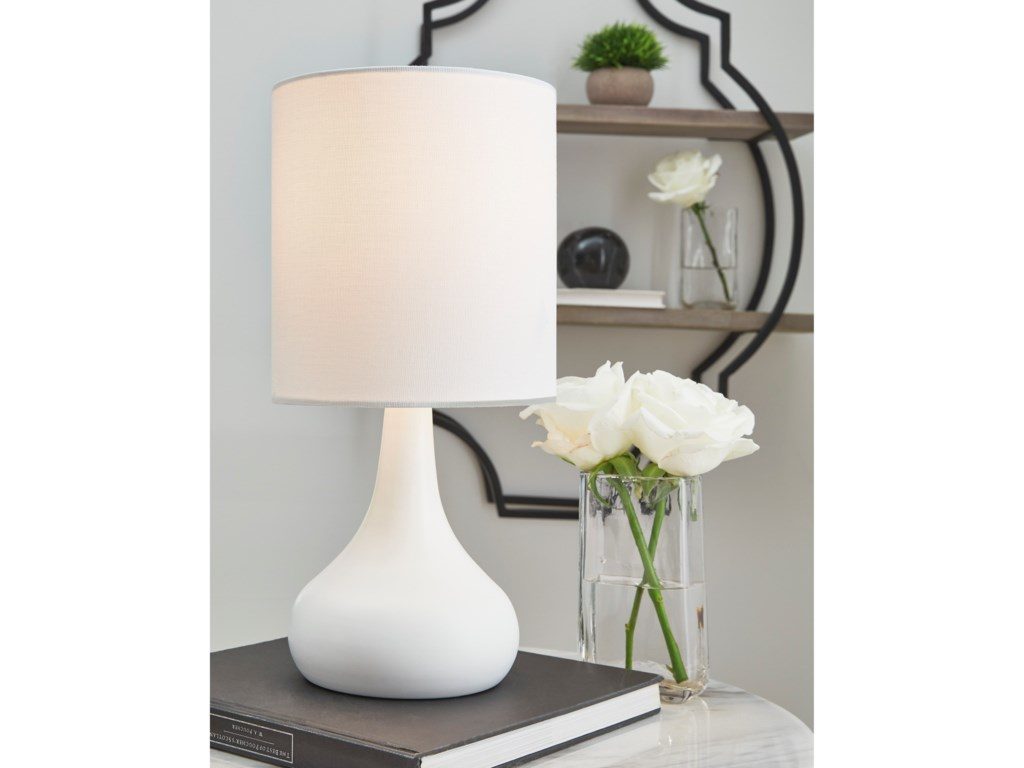 Signature Design by Ashley Lamps - ContemporaryLanry White Metal Table Lamp