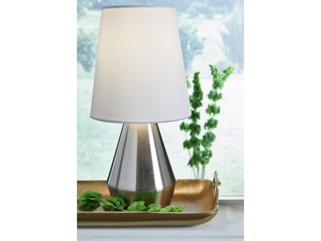 Signature Design by Ashley Lamps - ContemporaryLanry Silver Finish Metal Table Lamp