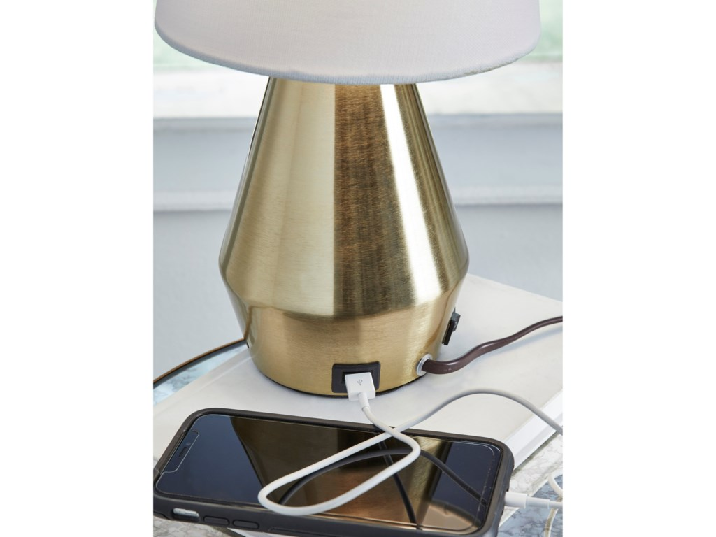 Signature Design by Ashley Lamps - ContemporaryLanry Brass Finish Metal Table Lamp