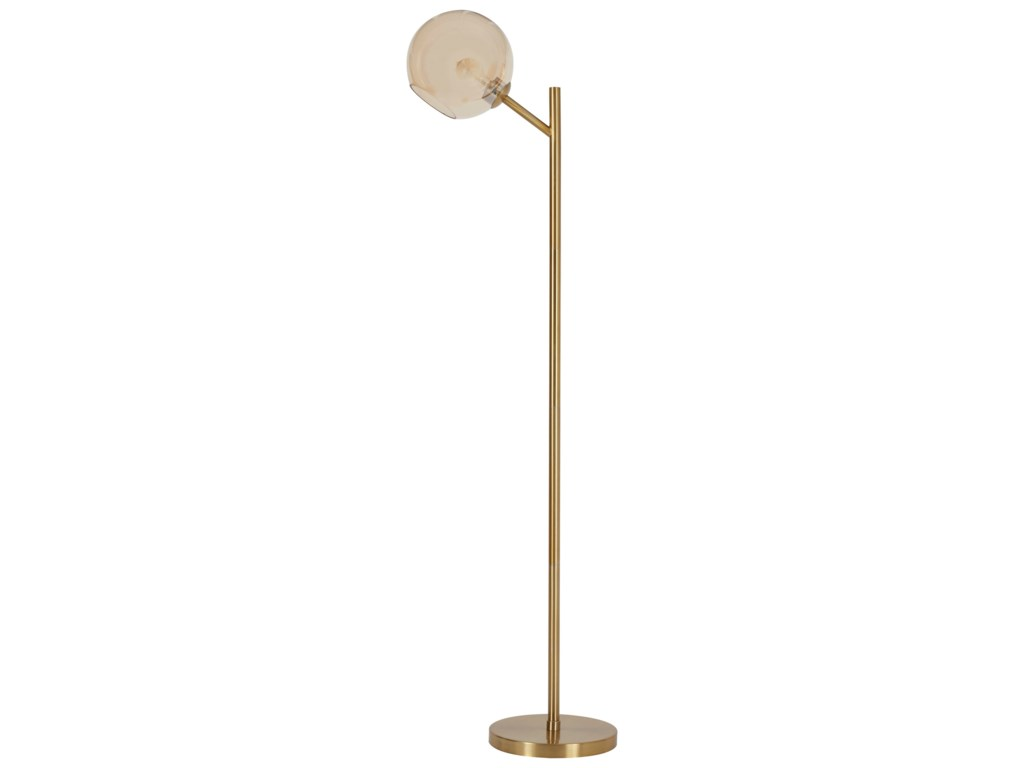 Signature Design by Ashley Lamps - ContemporaryAbanson Gold Finish Metal Floor Lamp