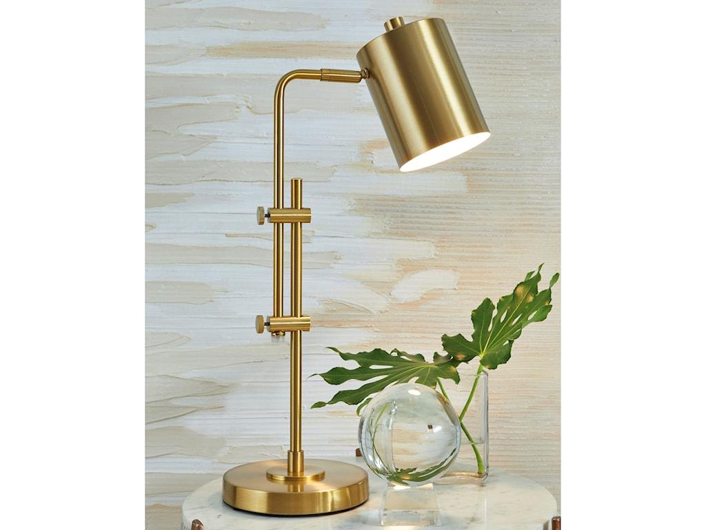 Signature Design by Ashley Lamps - ContemporaryBaronvale Brass Finish Metal Desk Lamp