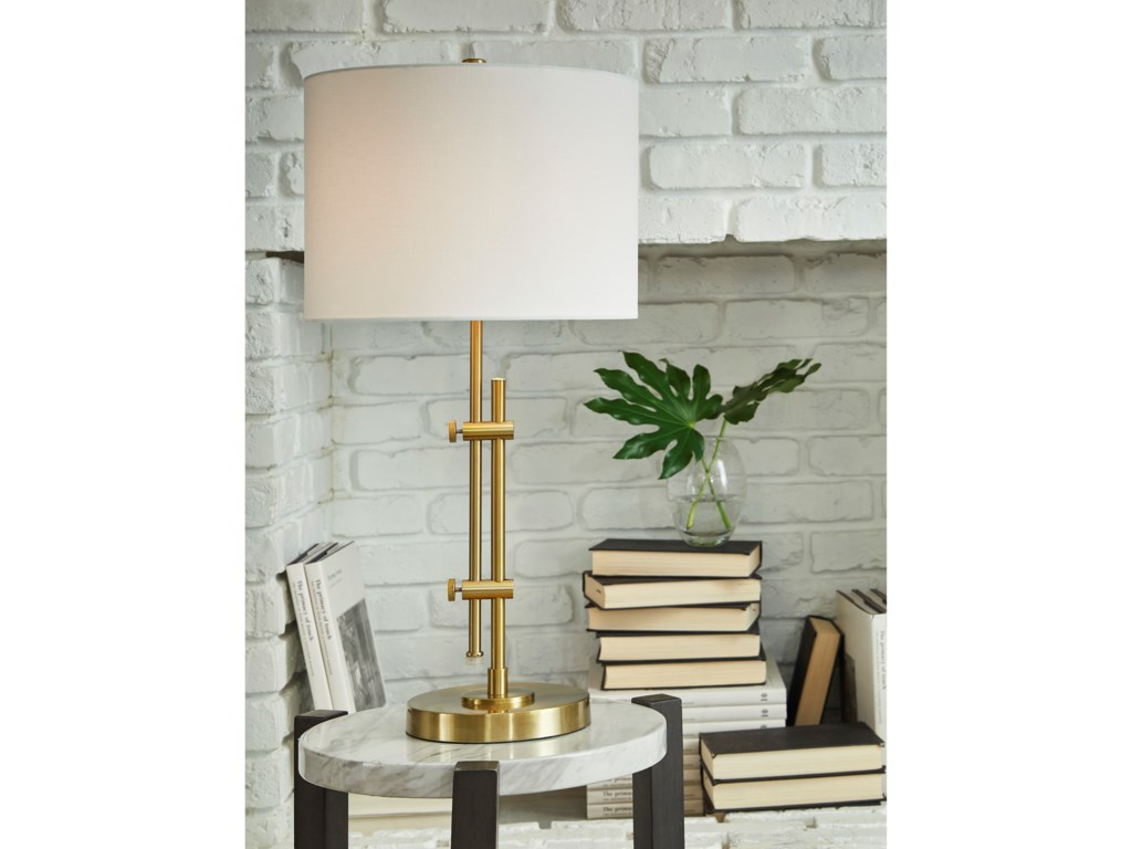 Signature Design by Ashley Lamps - ContemporaryBaronvale Brass Finish Metal Table Lamp