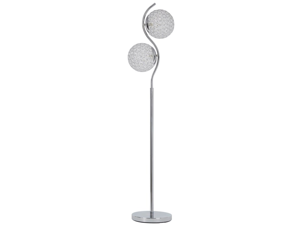 Signature Design by Ashley Lamps - ContemporaryWinter Silver Finish Floor Lamp