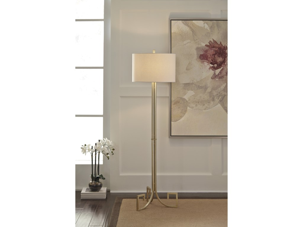 Signature Design by Ashley Lamps - ContemporaryJankin Champagne Finish Metal Floor Lamp