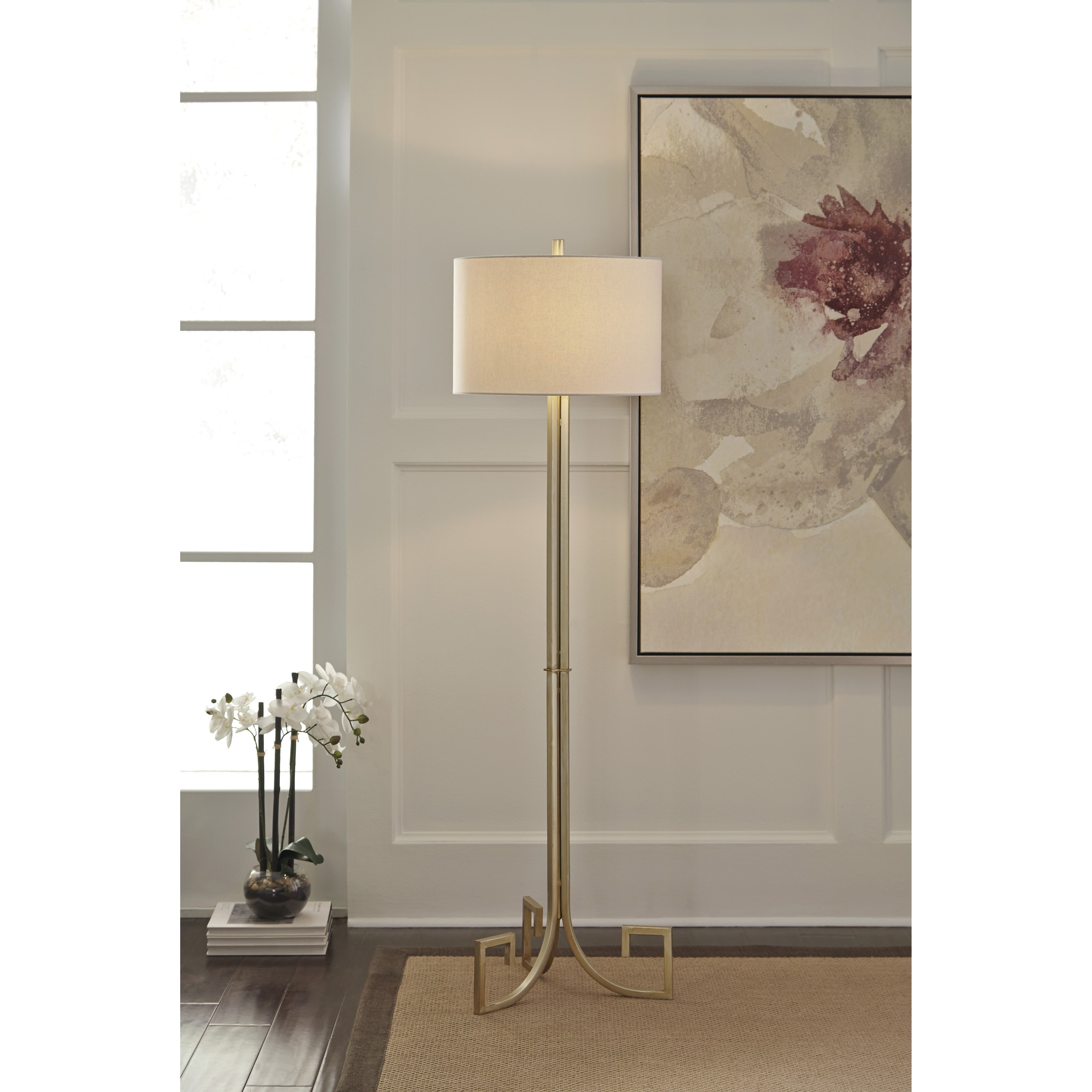 ... Signature Design By Ashley Lamps   ContemporaryJankin Champagne Finish  Metal Floor Lamp