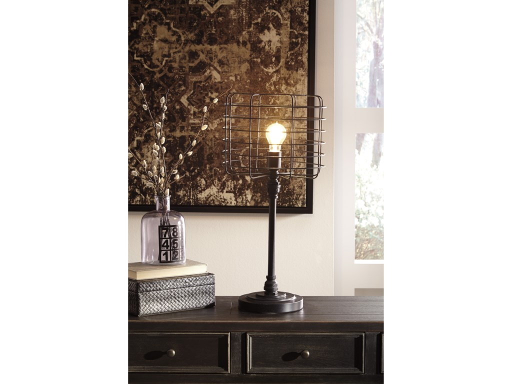 Signature Design by Ashley Lamps - ContemporaryJavan Antique Black Metal Table Lamp
