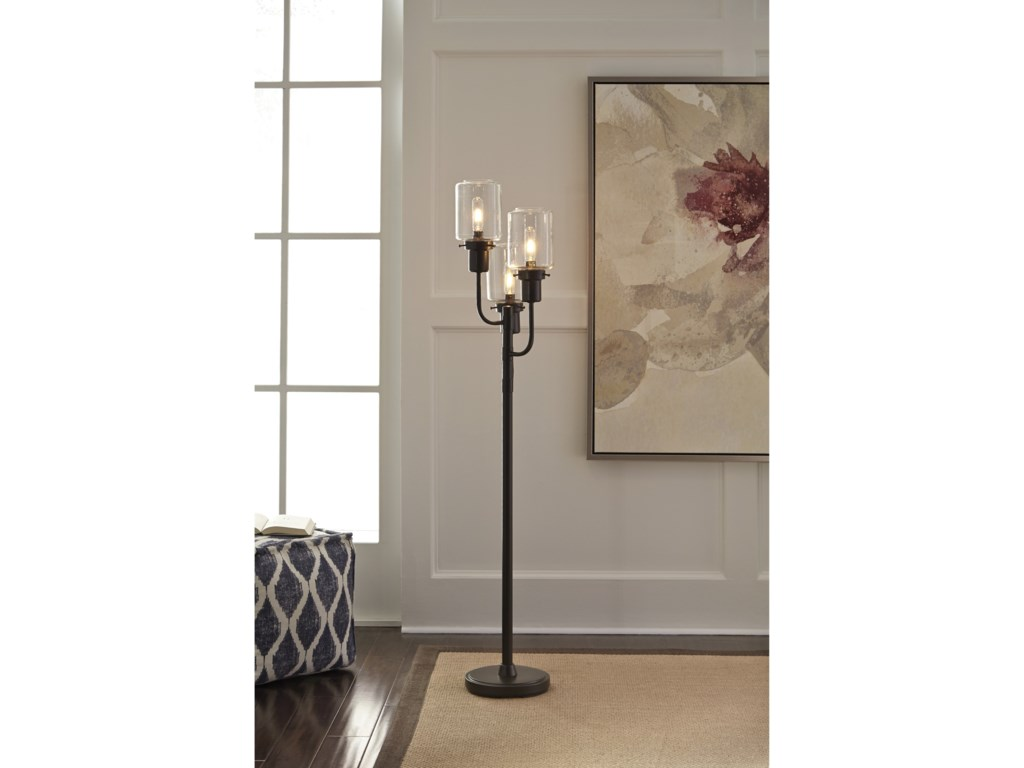 Signature Design by Ashley Lamps - ContemporaryJaak Bronze Finish Metal Floor Lamp