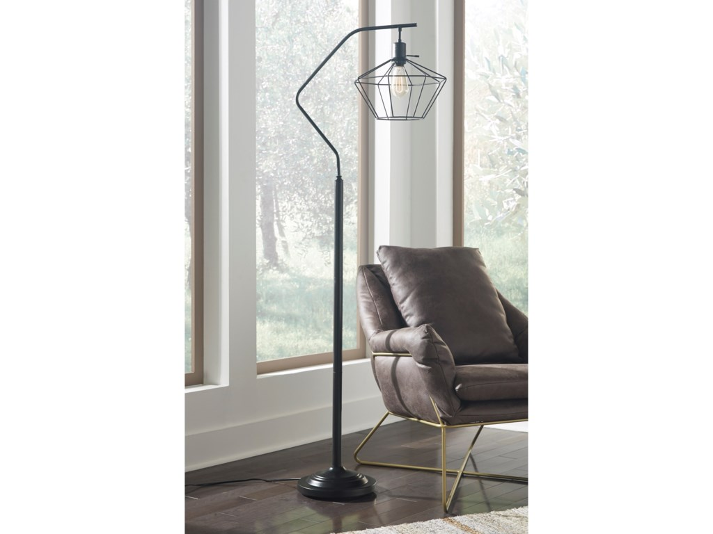 Signature Design by Ashley Lamps - ContemporaryMakeika Black Metal Floor Lamp