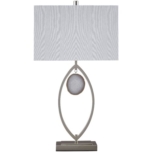 Signature Design by Ashley Lamps - Contemporary Set of 2 Lindsy Silver Finish Metal Table Lamps