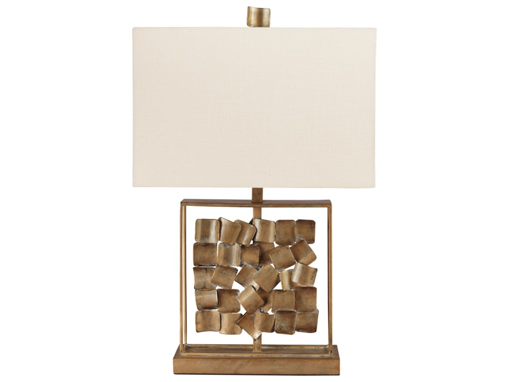 Signature Design by Ashley Lamps - ContemporaryEvera Antique Gold Finish Metal Table Lamp