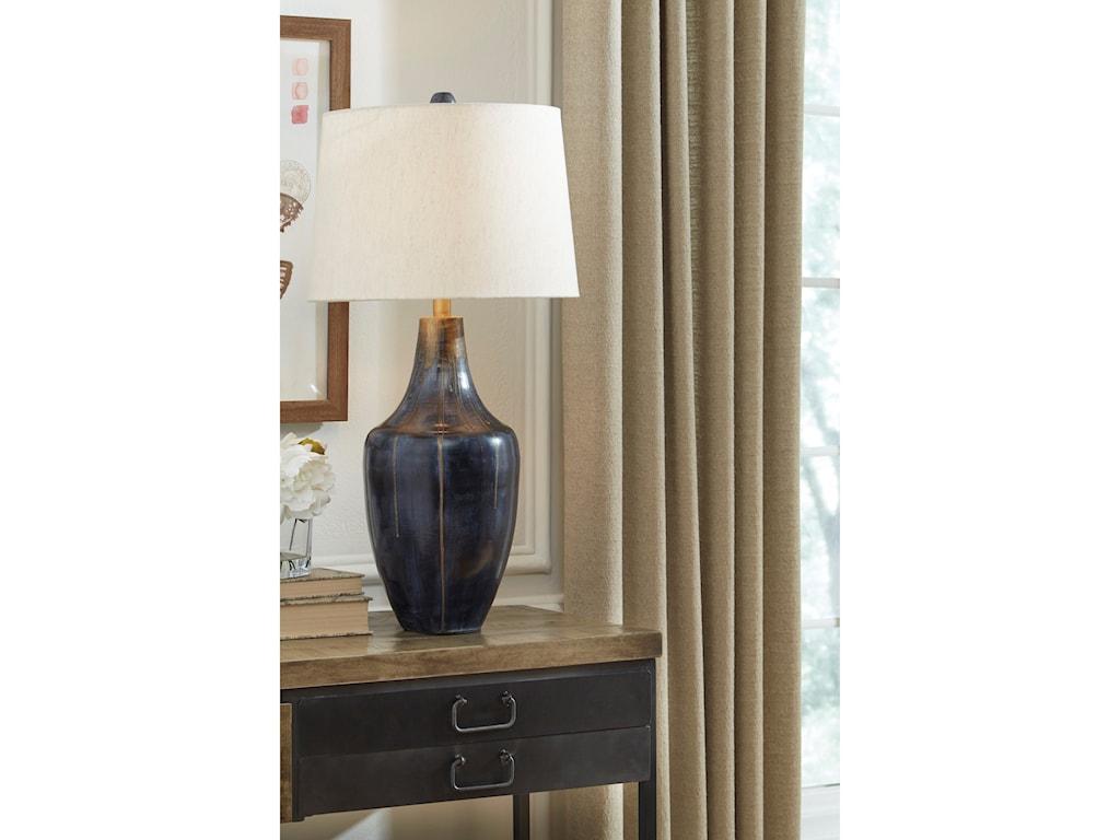 Signature Design by Ashley Lamps - ContemporaryEvania Indigo Metal Table Lamp