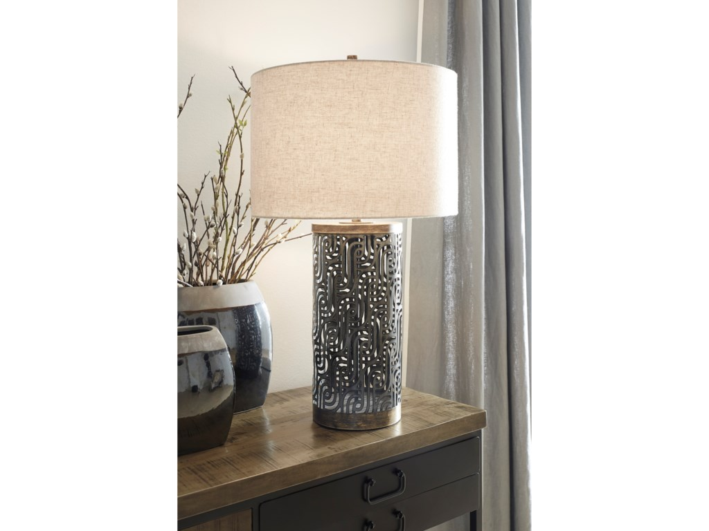Signature Design by Ashley Lamps - ContemporaryDayo Gray/Gold Metal Table Lamp