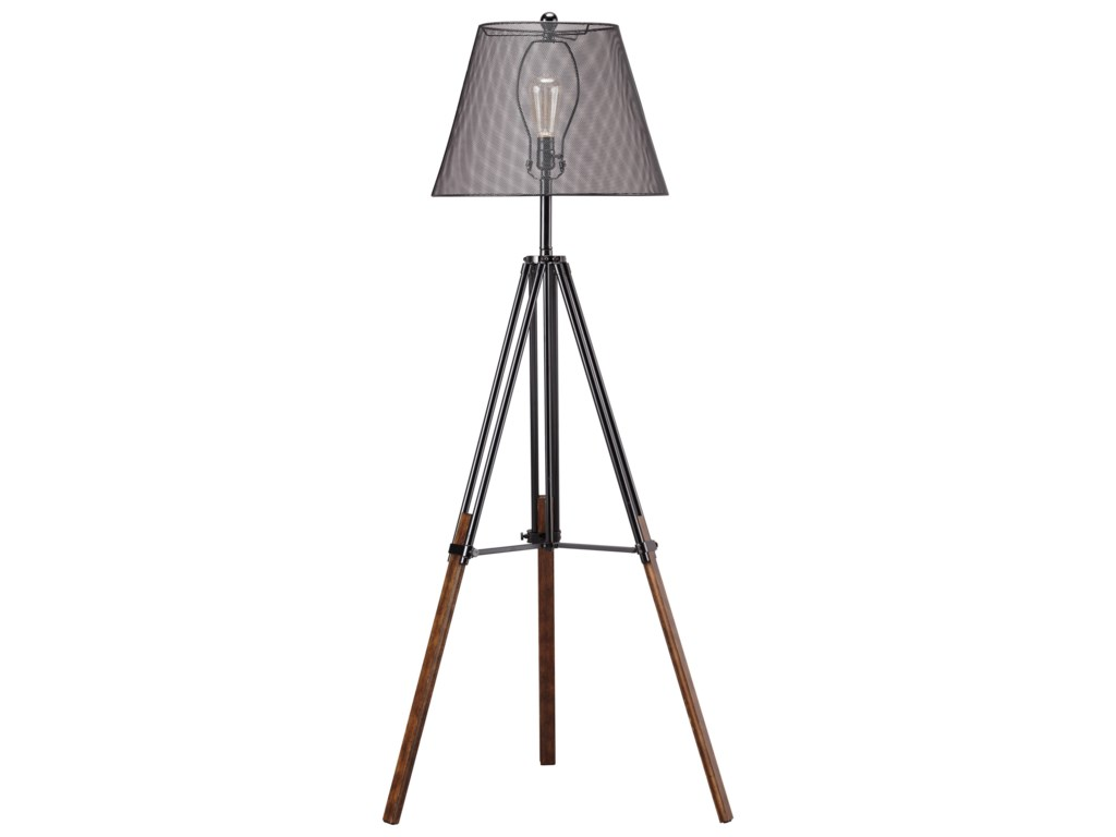 Signature Design by Ashley Lamps - ContemporaryLeolyn Black/Brown Metal Floor Lamp