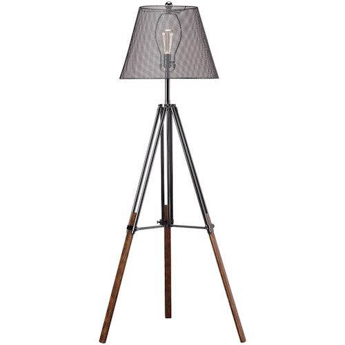 Signature Design by Ashley Lamps - Contemporary Leolyn Black/Brown Metal Floor Lamp