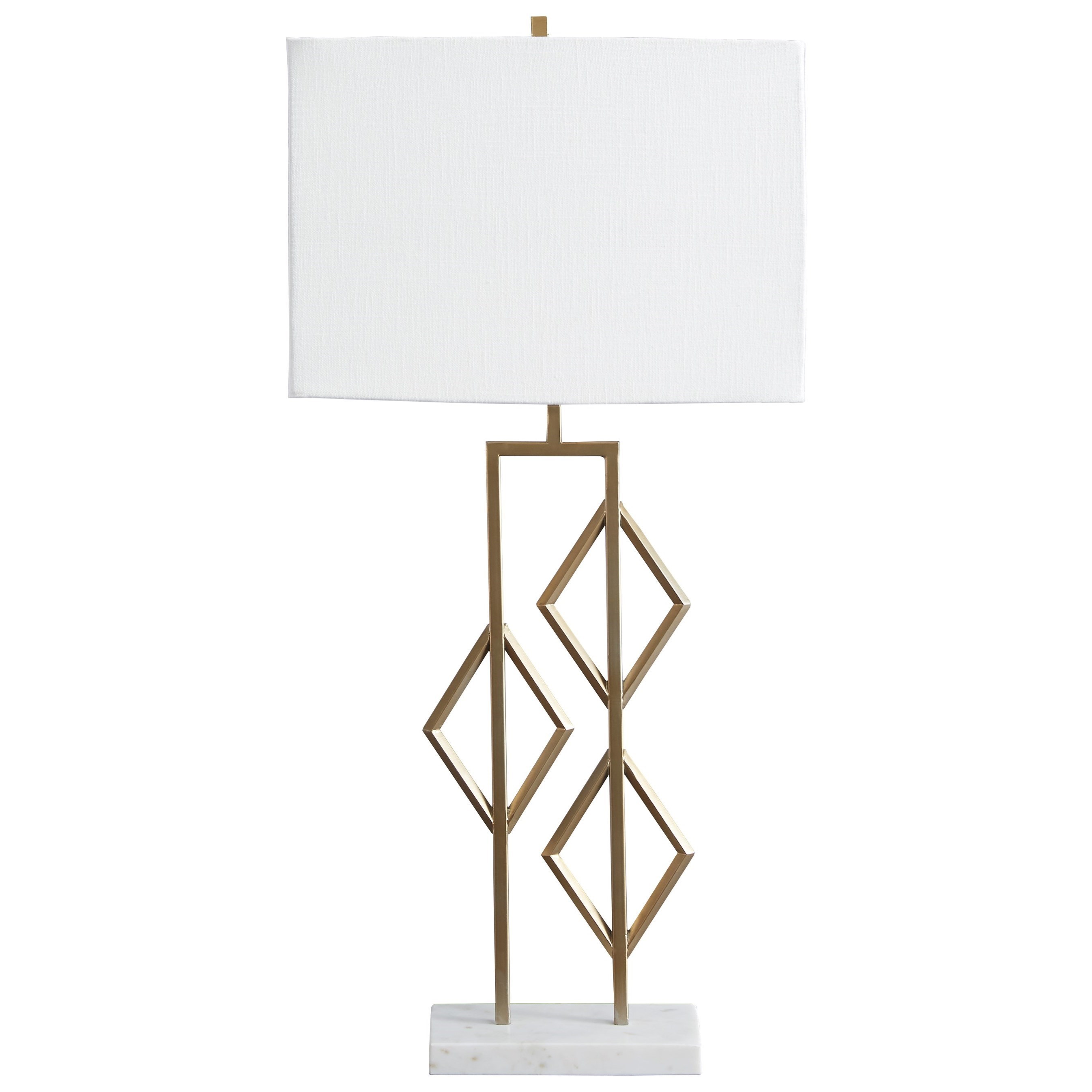 Edsel Champagne Metal Table Lamp with White Marble Base