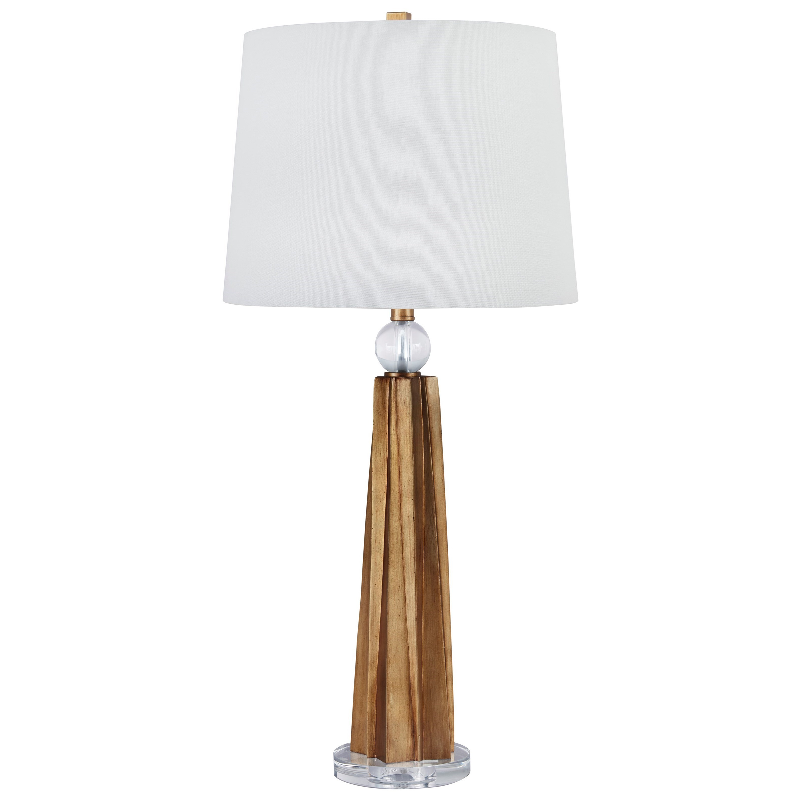 Ashley L311154 Table Lamps in Antique Copper and Wood Finish Pack of 2