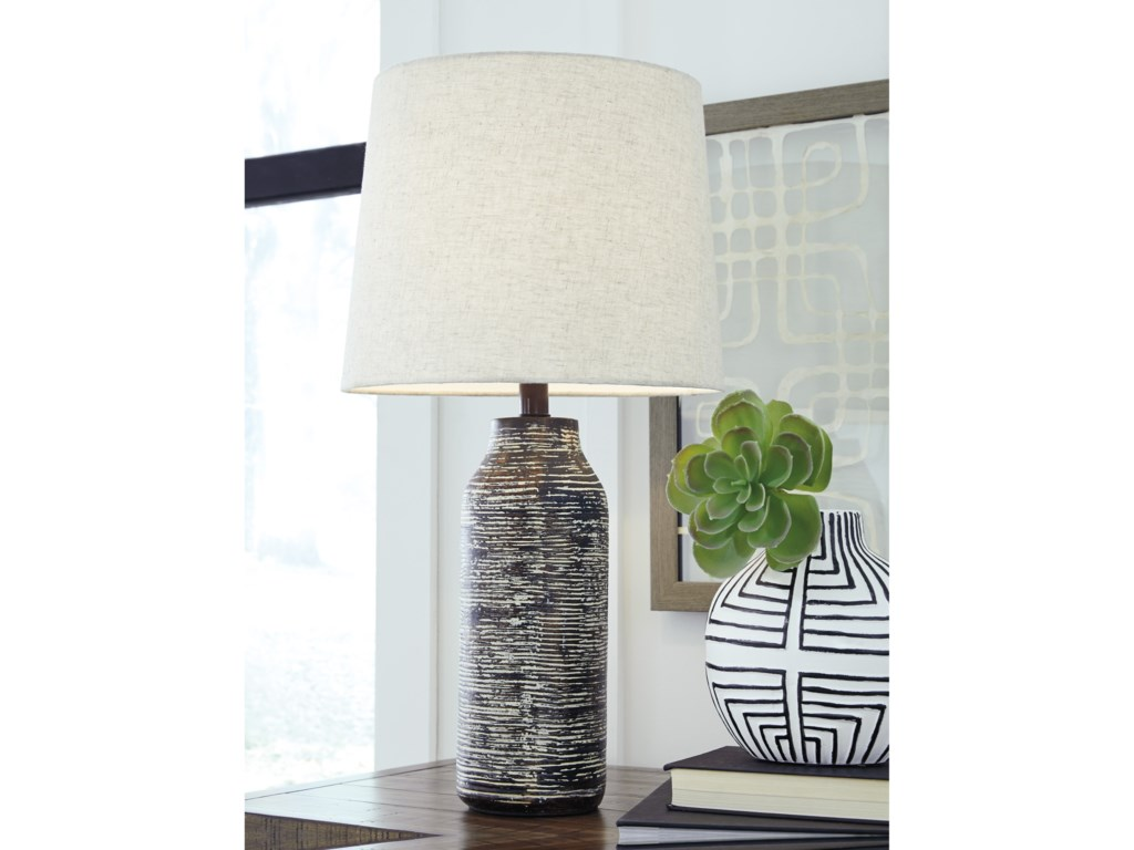 Signature Design by Ashley Lamps - ContemporarySet of 2 Mahima Black/White Table Lamps