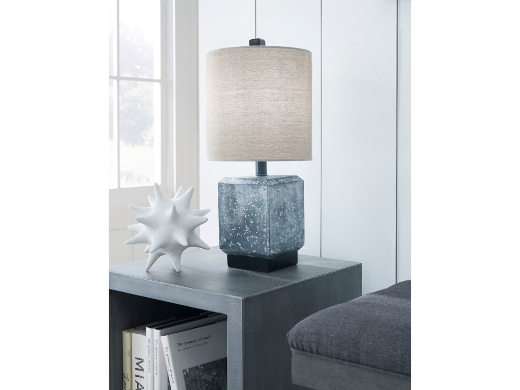 Signature Design by Ashley Lamps - ContemporaryJamila Gray/Black Poly Table Lamp
