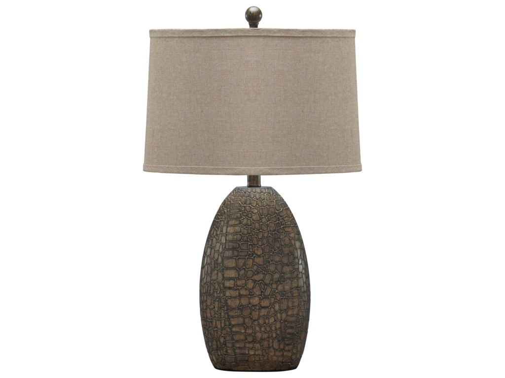 Signature Design by Ashley Lamps - ContemporaryMelvin Tan Poly Table Lamp
