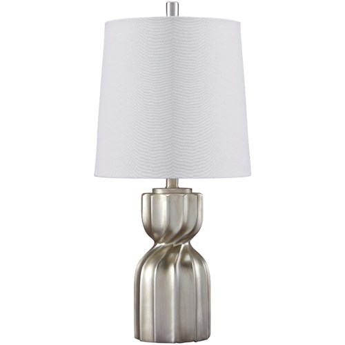 Signature Design by Ashley Lamps - Contemporary Makalia Champagne Poly Table Lamp