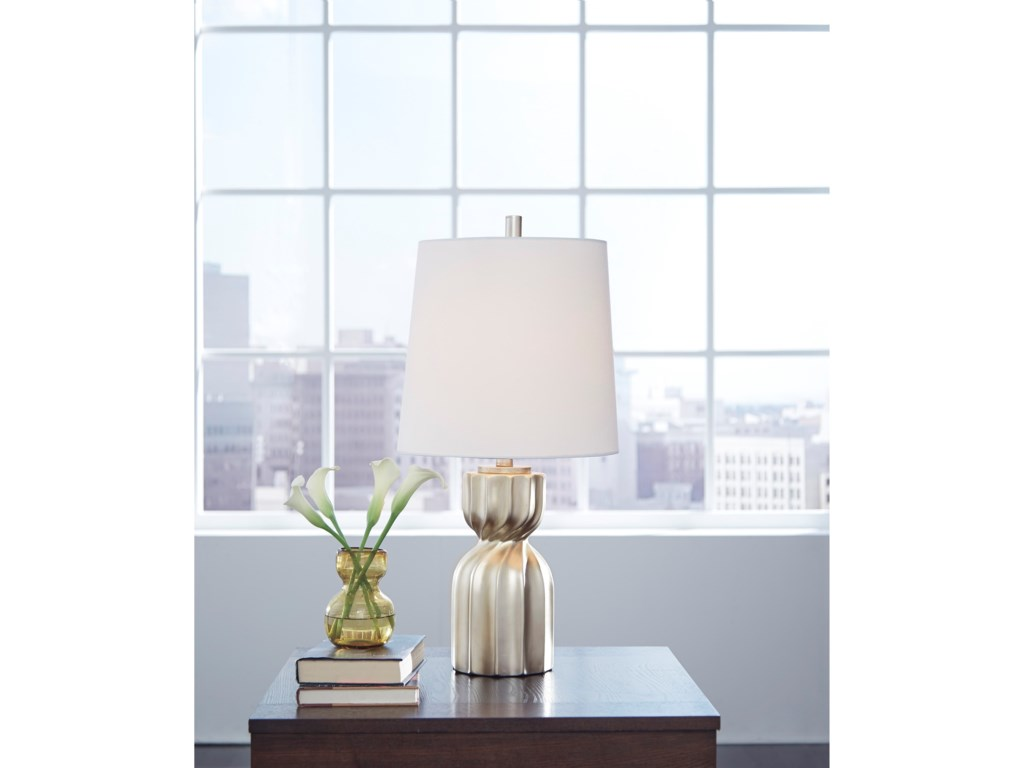 Signature Design by Ashley Lamps - ContemporaryMakalia Champagne Poly Table Lamp