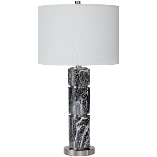 Signature Design by Ashley Lamps - Contemporary Set of 2 Maricela Black/White Poly Table Lamps