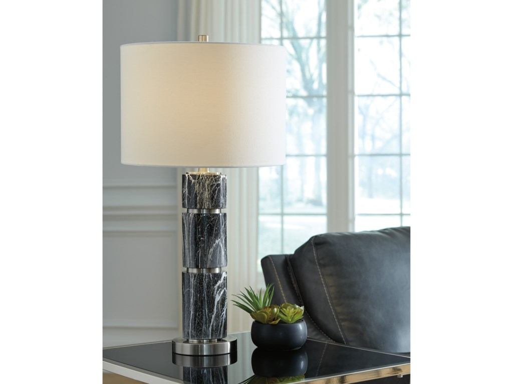 Signature Design by Ashley Lamps - ContemporarySet of 2 Maricela Black/White Table Lamps