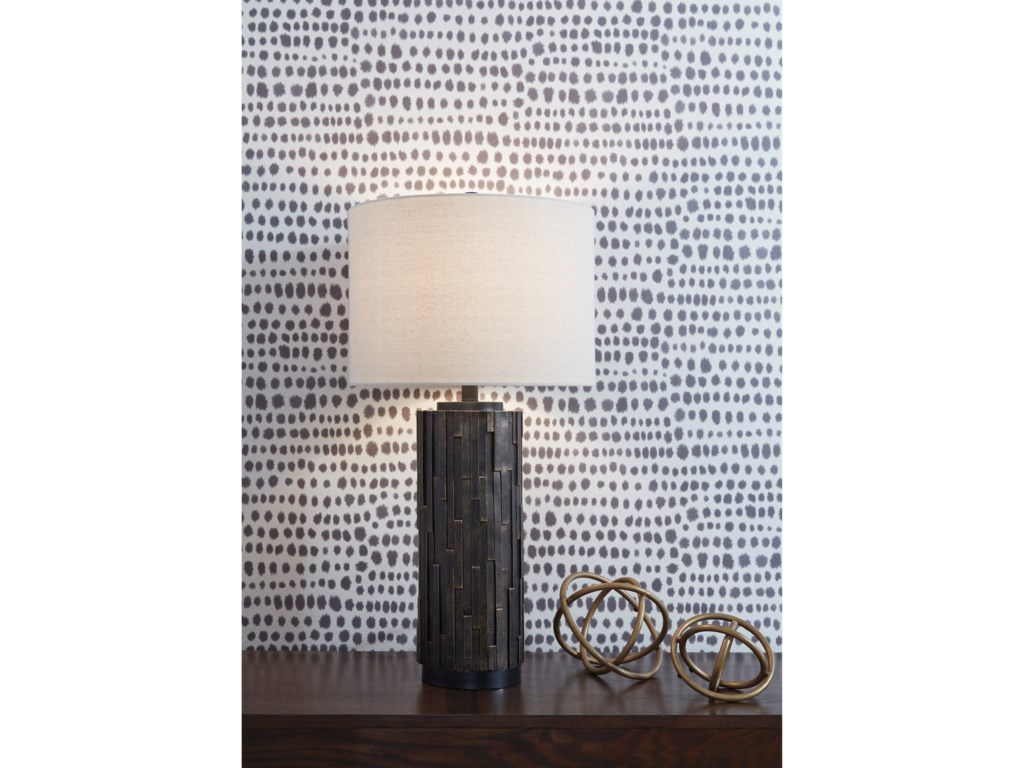 Signature Design by Ashley Lamps - ContemporarySet of 2 Makya Black/Gold Resin Table Lamps