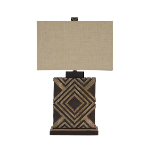 Signature Design by Ashley Lamps - Contemporary Sirsa Natural/Brown Wood Table Lamp