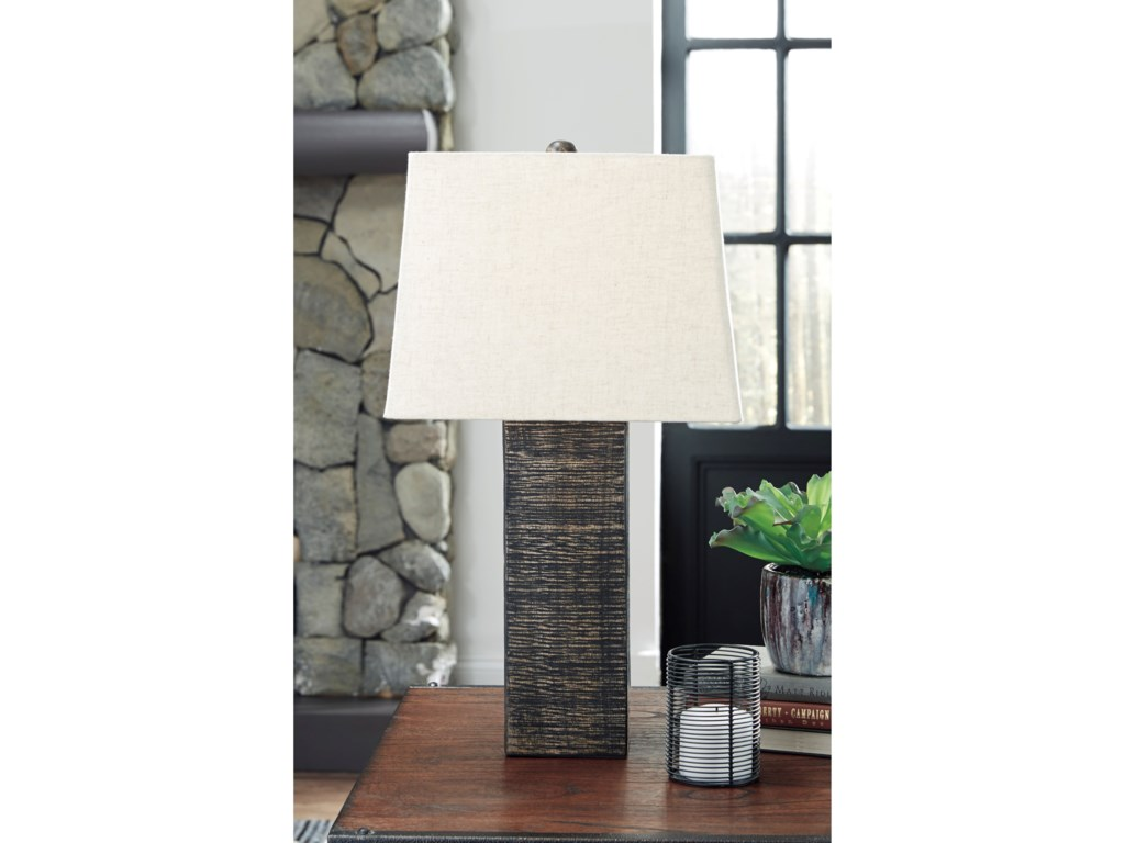 Signature Design by Ashley Lamps - ContemporarySet of 2 Mahak Black Wood Table Lamps