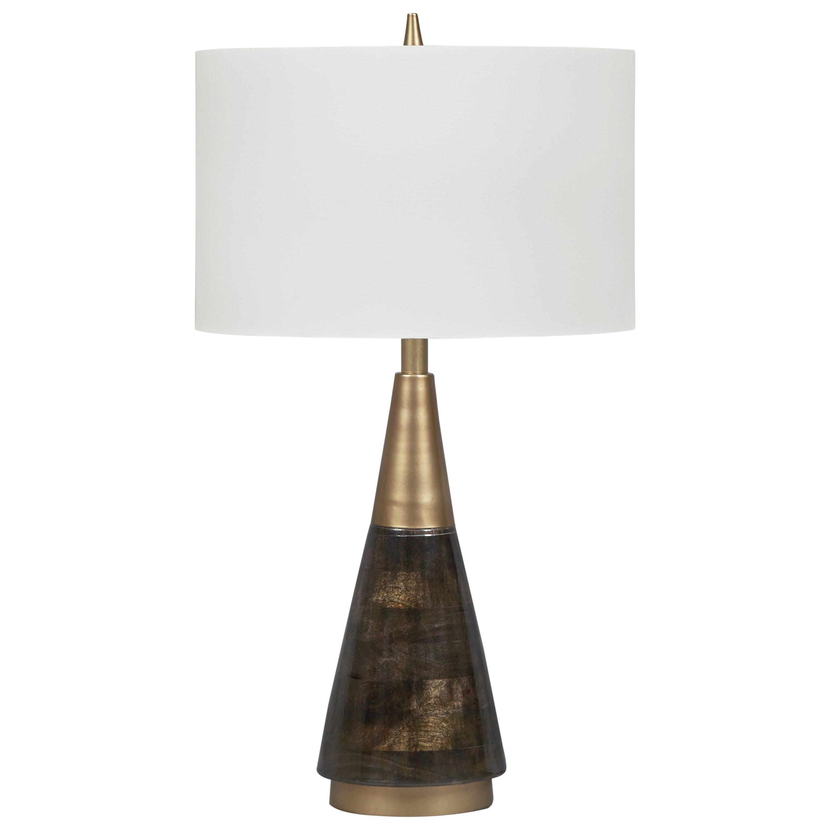 Lamps Contemporary Lyrah Black Gold Finish Wood Table Lamp