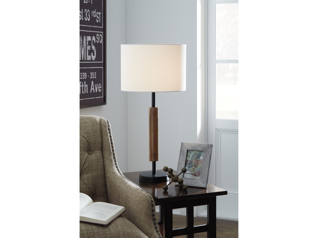 Signature Design by Ashley Lamps - ContemporarySet of 2 Maliny Black/Brown Wood Table Lamps
