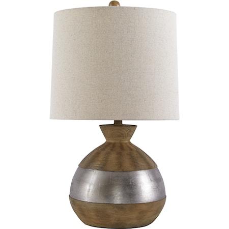 Mandla Brown/Silver Finish Poly Table Lamp