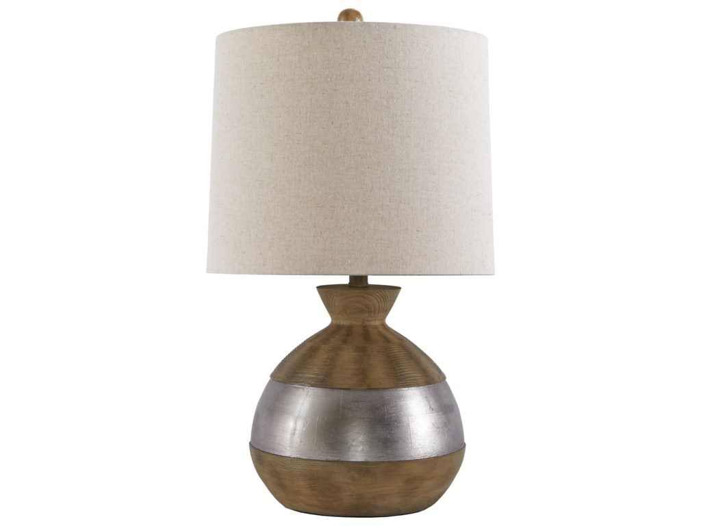 Signature Design by Ashley Lamps - ContemporaryMandla Brown/Silver Finish Poly Table Lamp