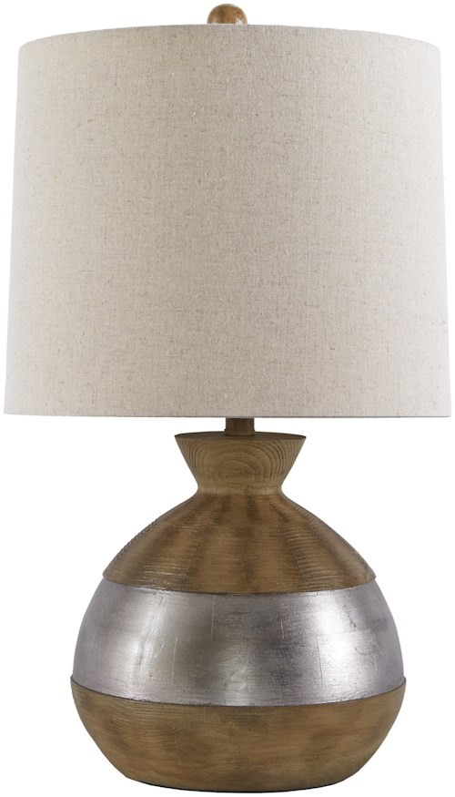 Signature Design by Ashley Lamps - Contemporary Mandla Brown/Silver Finish Poly Table Lamp