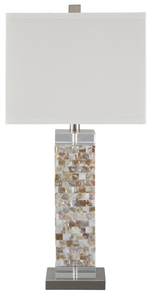Signature design by ashley lamps contemporary tahira shell table lamp