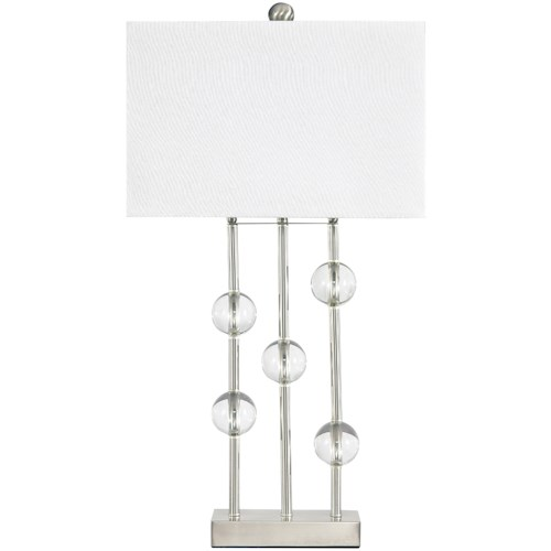 Signature Design by Ashley Lamps - Contemporary Jaala Clear/Silver Finish Metal Lamp