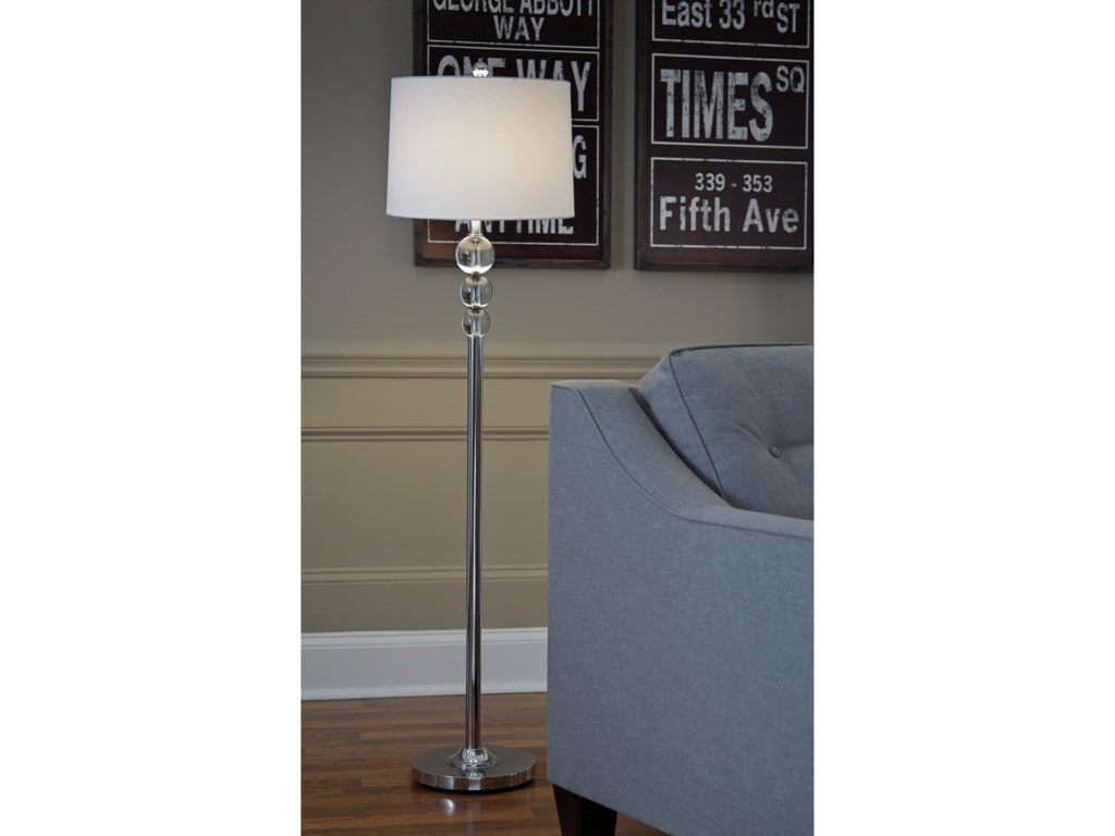 Signature Design by Ashley Lamps - ContemporaryJoaquin Chrome Finish Crystal Floor Lamp