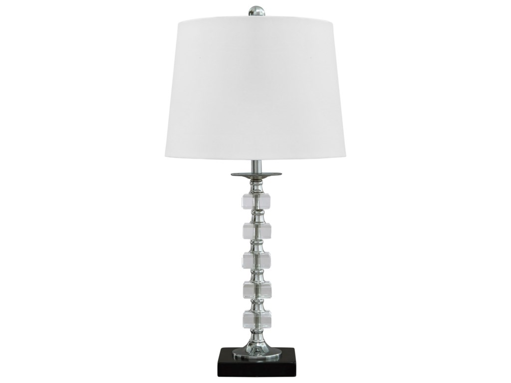 Signature Design by Ashley Lamps - ContemporarySet of 2 Leesa Clear Crystal Table Lamps