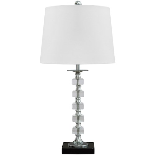 Signature Design by Ashley Lamps - Contemporary Set of 2 Leesa Clear Crystal Table Lamps
