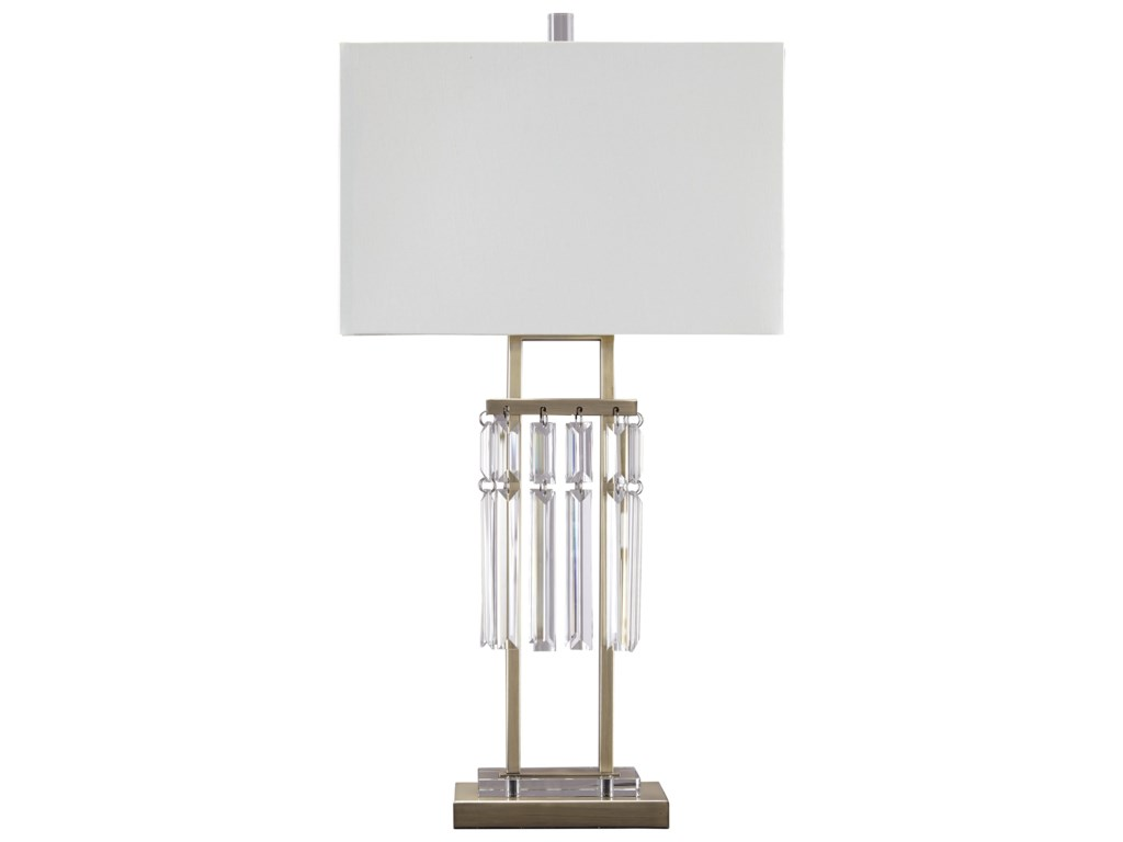 Signature Design by Ashley Lamps - ContemporaryMegdalia Clear.Brass Finish Metal Table Lamp