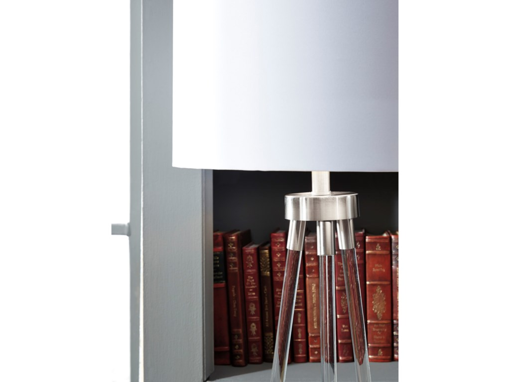 Signature Design by Ashley Lamps - ContemporaryIdalia Clear/Silver Acrylic Table Lamp