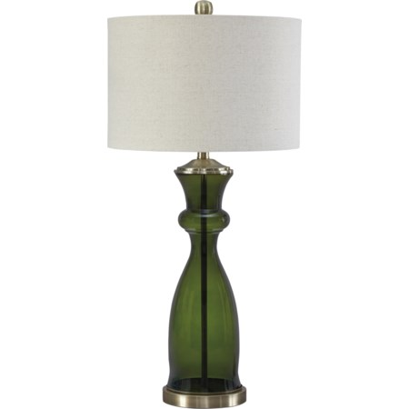 Ambrogio Green Glass Table Lamp