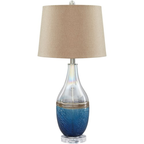 Signature Design by Ashley Lamps - Contemporary Johanna Blue/Clear Glass Table Lamp