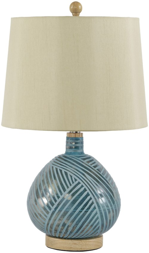 Signature Design by Ashley Lamps - Contemporary Jenaro Teal Glass Table Lamp