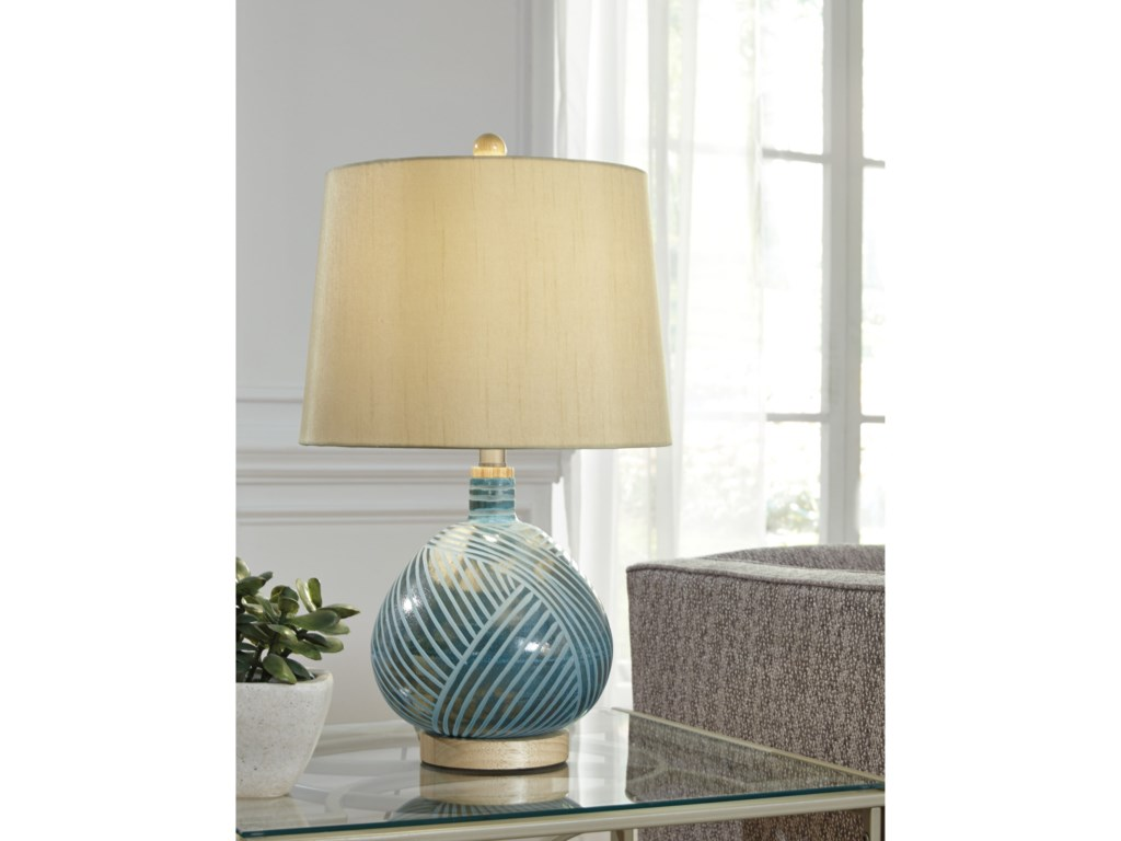 Signature Design by Ashley Lamps - ContemporaryJenaro Teal Glass Table Lamp