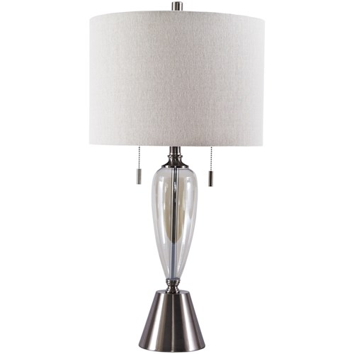 Signature Design by Ashley Lamps - Contemporary Set of 2 Maizah Champagne Glass Table Lamps