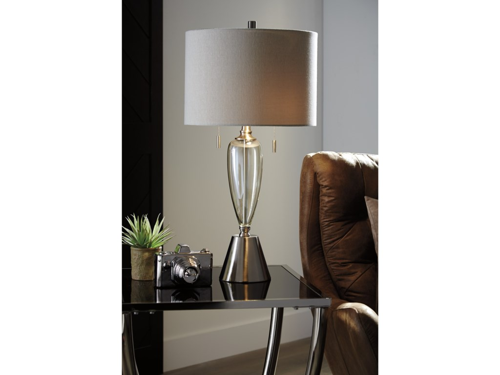 Signature Design by Ashley Lamps - ContemporarySet of 2 Maizah Champagne Glass Table Lamps