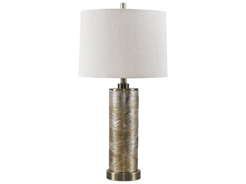 Signature Design by Ashley Lamps - ContemporaryFarrar Gold Finish Glass Table Lamp